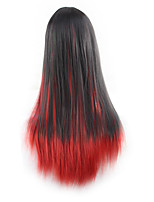 cheap -Synthetic Wig Curly Asymmetrical Wig Long Black / Red Synthetic Hair 27 inch Women's Best Quality Red Black