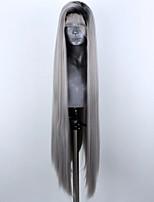 abordables -Perruque Lace Front Synthétique Droit Partie latérale Lace Frontale Perruque Long Gris foncé Cheveux Synthétiques 18-26 pouce Femme Ajustable Résistant à la chaleur Soirée Gris A Ombre