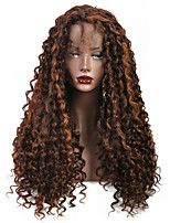 cheap -Synthetic Lace Front Wig Curly Free Part Glueless Lace Front Lace Front Wig Long Medium Length Medium Brown Synthetic Hair 18-22 inch Women's New Design New Arrival Hot Sale Brown