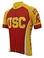 cheap -21Grams Men's Short Sleeve Cycling Jersey Winter 100% Polyester Red / Yellow Bike Jersey Top Mountain Bike MTB Road Bike Cycling UV Resistant Breathable Quick Dry Sports Clothing Apparel / Stretchy