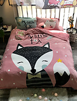 cheap -Fox Cartoon Flannel Duvet Cover Set Queen Bedding Cover Set Boys Girls Duvet Comforter Cover Set Luxury Soft Queen Duvet Cover Set