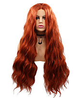 cheap -Synthetic Lace Front Wig Body Wave Layered Haircut Lace Front Wig Medium Length Orange Synthetic Hair 26 inch Women's Party Women Adorable Red Sylvia