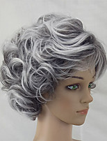 cheap -Synthetic Wig Curly Asymmetrical Wig Short Ombre Grey Synthetic Hair 5 inch Women's Best Quality Gray Ombre