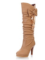 cheap -Women's Boots Stiletto Heel Round Toe PU Mid-Calf Boots Winter Black / Almond / White