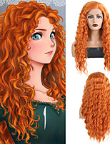 cheap -Synthetic Lace Front Wig Curly Loose Curl Side Part Lace Front Wig Long Orange Synthetic Hair 18-26 inch Women's Cosplay Heat Resistant Synthetic Blonde / Natural Hairline