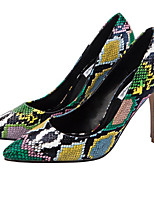 cheap -Women's Heels Stiletto Heel Pointed Toe Synthetics British / Minimalism Fall / Spring & Summer Black / Green / Party & Evening / Leopard