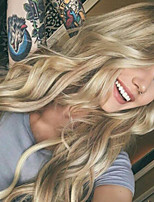 cheap -Synthetic Wig Curly Body Wave Asymmetrical Wig Long Ombre Blonde Synthetic Hair 27 inch Women's Best Quality Middle Part Blonde