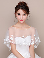 cheap -Short Sleeve Polyester / Lace / Tulle Wedding Women's Wrap With Appliques / Splicing Capelets
