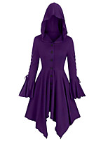 cheap -Women's Daily / Going out Street chic Spring / Fall & Winter Long Cloak / Capes, Solid Colored Hooded Long Sleeve Polyester Bow / Patchwork Black / Purple / Green