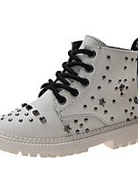 cheap -Boys' Combat Boots PU Boots Little Kids(4-7ys) Black / White Fall / Booties / Ankle Boots