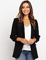 abordables -Femme Blazer, Couleur Pleine Col châle Polyester Noir / Rose Claire