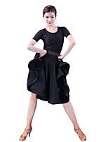 cheap -Latin Dance Dresses Women's Party / Performance Milk Fiber Tassel / Wave-like Short Sleeve Natural Dress
