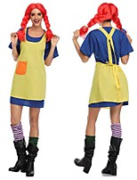 cheap -Naughty Girl Cosplay Costume Outfits Adults' Women's Cosplay Halloween Halloween Festival / Holiday Polyester Yellow Women's Carnival Costumes / Dress / Apron