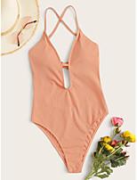 cheap -Women's Basic Orange Halter One-piece Swimwear - Solid Colored Backless Criss Cross S M L Orange