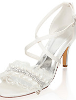 cheap -Women's Wedding Shoes Stiletto Heel Open Toe Crystal / Stitching Lace Satin Summer Ivory / Party & Evening