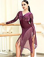 cheap -Latin Dance Dresses Women's Performance Spandex Tassel Long Sleeve Dress