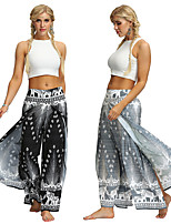 cheap -Women's Yoga Pants Harem Palazzo Wide Leg Print Black Silvery Dance Fitness Gym Workout Bloomers Sport Activewear Lightweight Breathable Quick Dry Soft Stretchy Loose