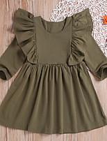 cheap -Kids Girls' Color Block Long Sleeve Above Knee Dress Green