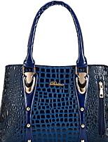 cheap -Women's Cowhide Top Handle Bag Solid Color Black / Gold / Blue