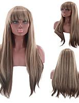 abordables -Perruque Synthétique Droit crépu Coupe Asymétrique Perruque Long Marron Cheveux Synthétiques 27 pouce Femme Meilleure qualité Marron