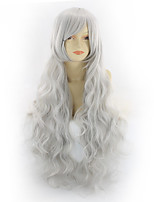 cheap -Synthetic Wig Curly Asymmetrical Wig Medium Length Grey Synthetic Hair 31 inch Women's Best Quality Dark Gray