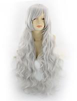 cheap -Synthetic Wig Curly Asymmetrical Wig Medium Length Grey Synthetic Hair 31 inch Women's Best Quality Dark Gray