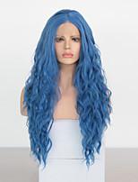 abordables -Perruque Lace Front Synthétique Ondulé Partie médiane Lace Frontale Perruque Long Azur Cheveux Synthétiques 18-26 pouce Femme Cosplay Doux Ajustable Bleu