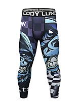 cheap -CODYLUNDIN Men's Running Tights Compression Pants Sports Leggings Running Fitness Jogging Breathable Quick Dry Soft 3D Print Black Dark Grey Black / Silver Black / Red Purple Blue / Stretchy / Skinny