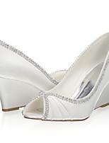 cheap -Women's Wedding Shoes Wedge Heel Peep Toe Satin Sweet Spring & Summer / Fall & Winter Ivory