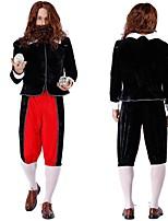 abordables -Sorcier Exorciste Pantalon Costume de Cosplay Adulte Homme Victoriens Veste Napoléon Halloween Fête / Célébration Tissu Pelouche Noir Homme Déguisement Carnaval / Haut