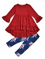 cheap -Kids Girls' Basic Floral Long Sleeve Clothing Set Red