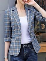 abordables -Femme Blazer, Tartan Revers Cranté Polyester Bleu