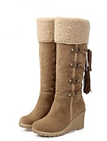 cheap -Women's Boots Wedge Heel Round Toe PU Knee High Boots Fall & Winter Black / Yellow / Beige
