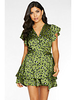 cheap -Women's Daily Wear Basic Sheath Dress - Solid Colored Print Drawstring Green S M L XL