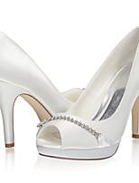 cheap -Women's Wedding Shoes Stiletto Heel Peep Toe Satin Sweet Spring & Summer / Fall & Winter Ivory