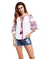 abordables -Tee-shirt Femme, Fleur Mosaïque Basique Blanche
