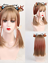 cheap -Synthetic Wig Bangs Weave kinky Straight Natural Wave Lily Bob Neat Bang Wig Medium Length Gold Pink Synthetic Hair 14 inch Women's Cute Party Synthetic Pink Ombre EMMOR