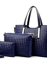 cheap -Women's Zipper PU Bag Set Solid Color 3 Pcs Purse Set Black / Gold / Blue