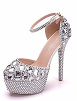 cheap -Women's Wedding Shoes Stiletto Heel Round Toe Rhinestone / Crystal / Sparkling Glitter PU Vintage / Minimalism Spring &  Fall / Spring & Summer Silver / Rainbow / Party & Evening