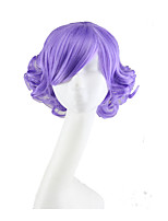 cheap -Synthetic Wig Curly Asymmetrical Wig Short Bright Purple Synthetic Hair 11 inch Women's Best Quality Purple