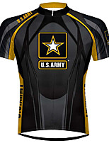 cheap -21Grams Men's Short Sleeve Cycling Jersey 100% Polyester Black / Yellow Bike Jersey Top Mountain Bike MTB Road Bike Cycling UV Resistant Breathable Quick Dry Sports Clothing Apparel / Stretchy
