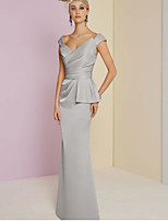 cheap -Sheath / Column Plunging Neck Floor Length Satin Elegant Engagement / Formal Evening Dress 2020 with Ruched