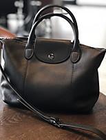 cheap -Women's Zipper Cowhide Top Handle Bag Solid Color Black / Brown