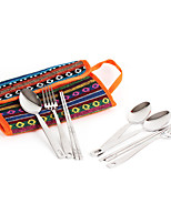 cheap -Camp Kitchen Utensil Organizer Travel Set Set Portable Wearable Durable for 5 person Stainless Steel Oxford Outdoor Camping / Hiking Traveling Picnic Rainbow