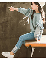 cheap -Kids Girls' Basic Solid Colored Long Sleeve Clothing Set Blue