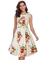 cheap -The Marvelous Mrs. Maisel Retro Vintage 1950s Wasp-Waisted Dress Women's Spandex Costume Beige Vintage Cosplay Party Daily Wear Sleeveless Knee Length