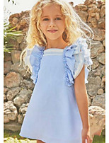 cheap -Kids Girls' Solid Colored Dress Blue