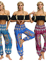 cheap -Women's Yoga Pants Harem Smocked Waist Print Dark Red Blue Light Blue Dance Fitness Gym Workout Bloomers Sport Activewear Lightweight Breathable Quick Dry Soft Stretchy Loose