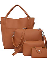 cheap -Women's Zipper PU Bag Set Solid Color 4 Pieces Purse Set Brown