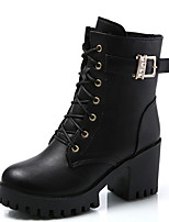 cheap -Women's Boots Chunky Heel Round Toe PU Booties / Ankle Boots Winter Black / Wine
